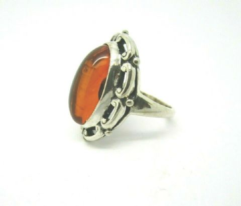 Sterling Silver 925 Vintage Style Real Amber Ring Size K To Clear